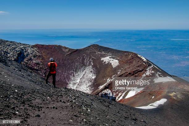 view from mt etna (unesco world heritage site); it is located in the parco dell'etna - etna park in the east coast of sicily (italy) - etna foto e immagini stock