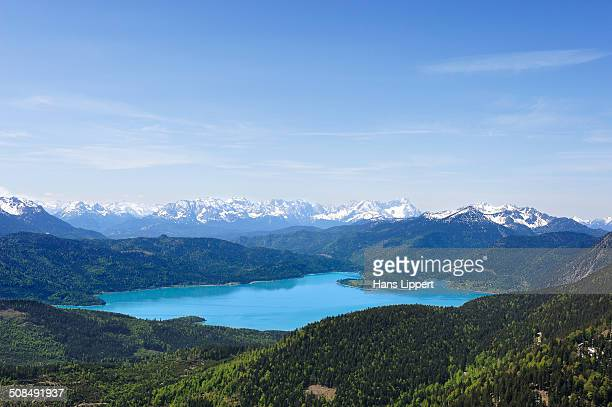 View from Mt Hirschkopfhoernl to Walchensee Lake and the Wetterstein range, Jachenau, Toelzer Land region, Isarwinkel region, Upper Bavaria, Bavaria, Germany, Europe, PublicGround