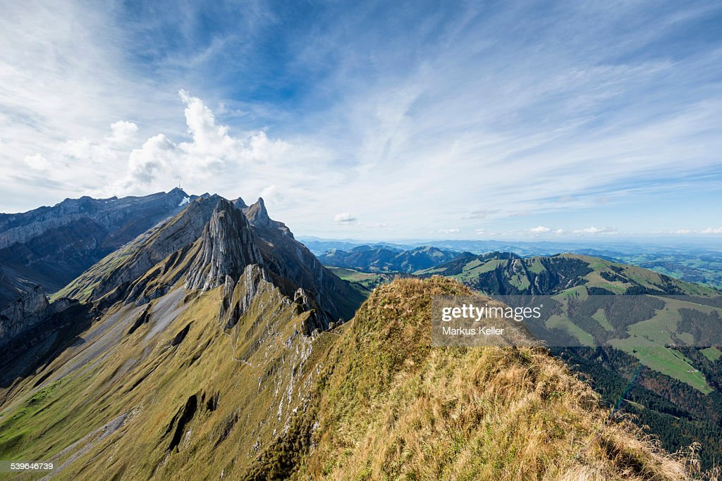 View From Mt Schafler In The Appenzell Alps To Mt Santis Canton Of