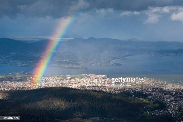 view from mt wellington over hobart - chris putnam stock pictures, royalty-free photos & images