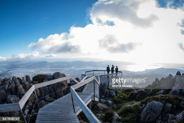 view from mt. wellington - hobart tasmania stock pictures, royalty-free photos & images
