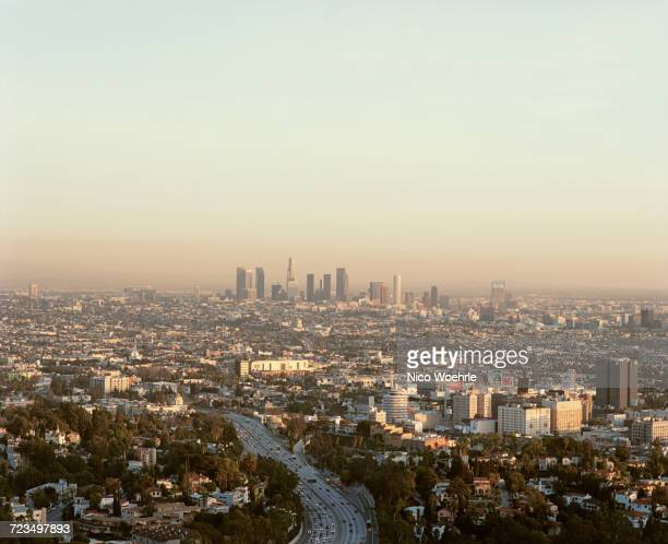 view from mulholland drive of cityscape against sky, los angeles, california, usa - mulholland drive stock photos and pictures