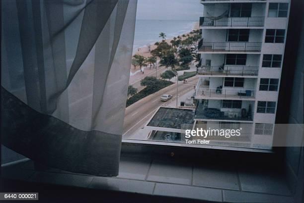 view from multistorey window - voyeurismo fotografías e imágenes de stock