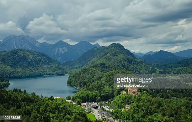 View from Neuschwanstein with lake and mountains