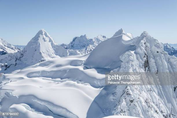 view from nevado pisco peak, peru - crevasse stock photos and pictures