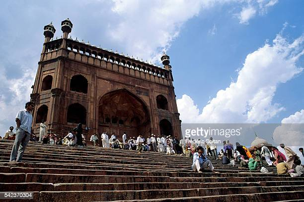 View from northeast entrance of the MasjidiJahan Numa know as Jama Masjid which is the principal mosque of Old Delhi achieved in 1656 AD