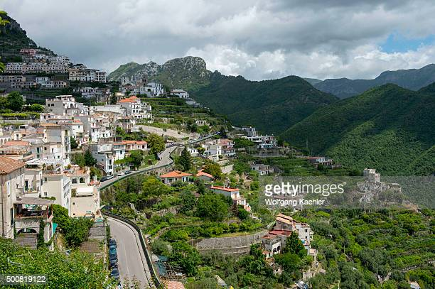 View from of the hills the town of Ravello on the Amalfi Coast Italy