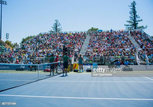 A view from on court of the grandstand during the WTA Tour Bank of the West Classic final match at Taube Family Tennis Center in Stanford CA on...