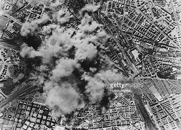 A view from one of the 150 Allied B17 Flying Fortress bombers attacking the San Lorenzo freight yard and steel factory in Rome 19th July 1943 During...
