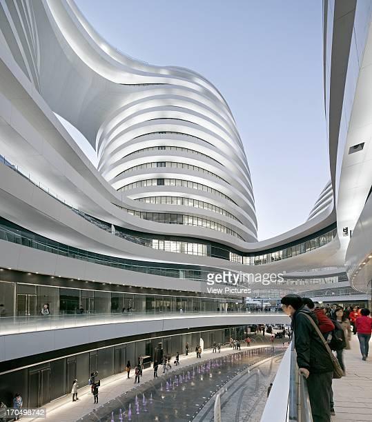 View from one of the bridges to public courtyard Galaxy Soho Beijing China Architect Zaha Hadid Architects 2012