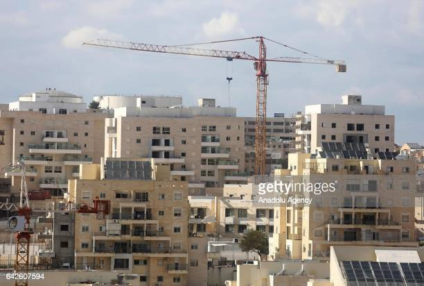 A view from ongoing illegal building constructions in Modi'in Illit Jewish settlement located between Jerusalem and Tel Aviv in West Bank on February...