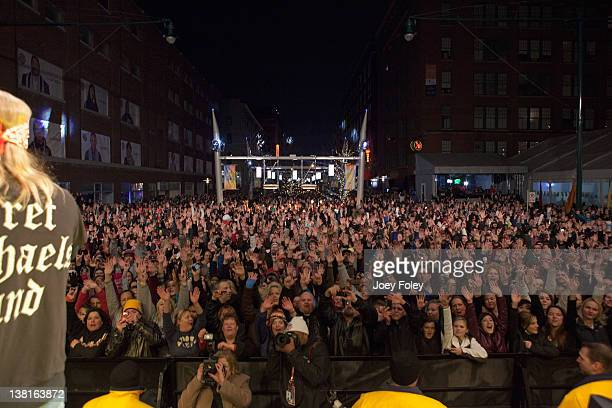 A view from onstage as Bret Michaels performs during day 1 of the Super Bowl Village on January 27 2012 in Indianapolis Indiana
