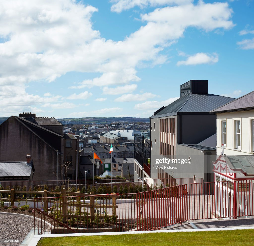view from orchard garden towards facade and city st angelas college cork cork