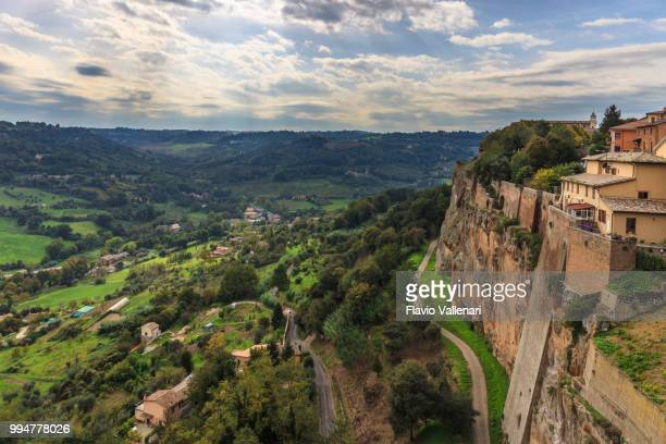 view from orvieto, town perched on tuff cliffs (umbria, italy) - orvieto stock pictures, royalty-free photos & images