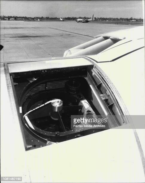 View from outside at the open department with telescope used during the flightNASA Lockheed C141A aircraft in Richmond RAAF base to make observation...