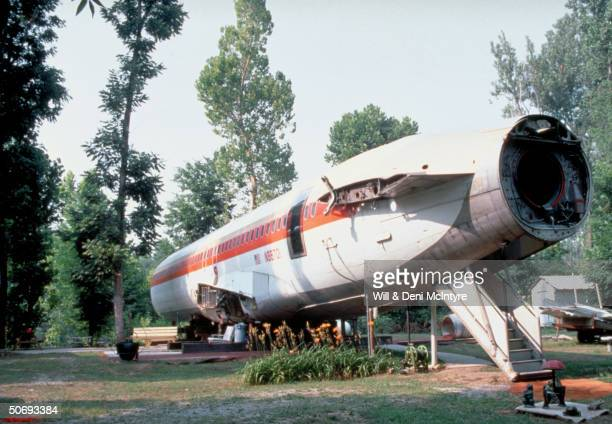 View from outside of Boeing 727 fuselage which has been converted into 3 bedroom home by beautician Jo Ann Ussery