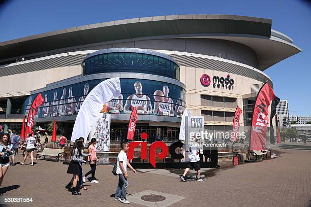 View from outside of the Moda Center Arena before the game between the Portland Trail Blazers and the Golden State Warriors in Game Three of the...