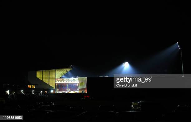 View from outside the stadium before the Premier League match between Burnley FC and Manchester United at Turf Moor on December 28, 2019 in Burnley,...