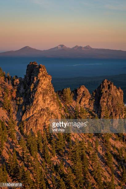 View from Paulina Peak at Newberry National Volcanic Monument in Central Oregon. In the distance: Mount Bachelor, South Sister, Broken Top.