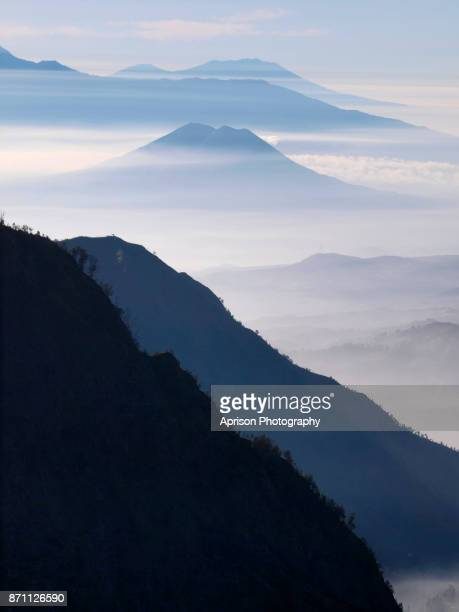 view from penanjakan hill bromo - bromo tengger semeru national park stock photos and pictures