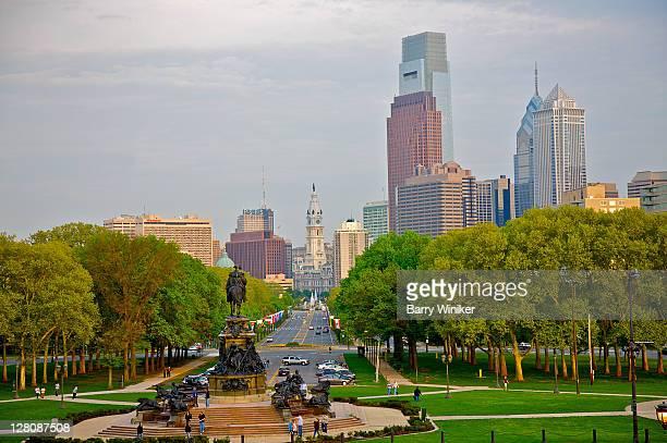 View from Philadelphia Museum of Art of Calder monument, Benjamin Franklin Parkway and skyscrapers of Center City, Philadelphia, Pennsylvania