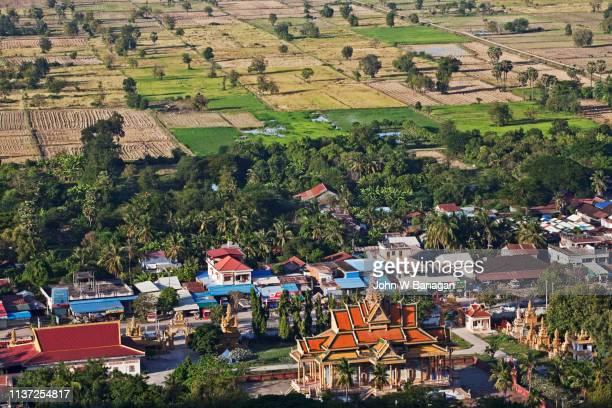view from phnom sampeou mountain of phnom sampov town ,battambang. - killing fields stock pictures, royalty-free photos & images