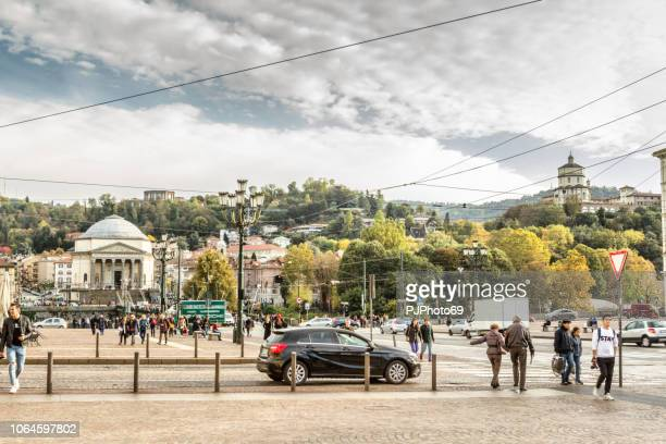view from piazza vittorio veneto - turin - pjphoto69 stock pictures, royalty-free photos & images