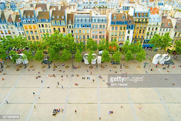 view from pompidou centre - centre georges pompidou stock pictures, royalty-free photos & images