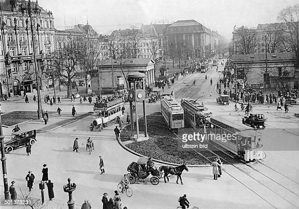 View from Potsdamer Platz towards Leipziger Strasse Road traffic with trams around 1930