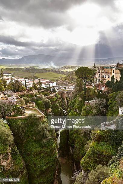 view from puente nuevo - ronda stock pictures, royalty-free photos & images