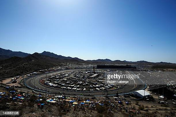 A view from Rattlesnake Hill during the NASCAR Sprint Cup Series SUBWAY Fresh Fit 500 at Phoenix International Raceway on March 4 2012 in Avondale...