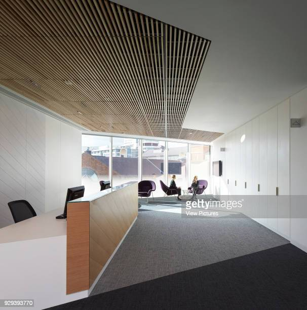 View from reception desk towards waiting lounge. KPMG Offices, Leeds, Leeds, United Kingdom. Architect: Sheppard Robson, 2015.