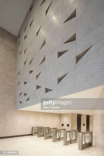 View from reception showing security turnstiles. Verde SW1, London, United Kingdom. Architect: Aukett Swanke & Adjaye Associates, 2016.