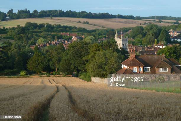 A view from Rectory Hill looking down upon St Mary's Church in the village of Old Amersham August 13 in Amersham Buckinghamshire