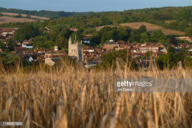 View from Rectory Hill looking down upon St Mary's Church in the village of Old Amersham, August 13 in Amersham, Buckinghamshire.