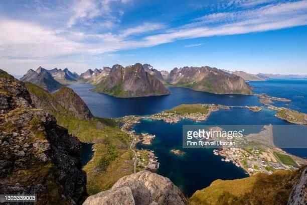 view from reinebringen in reine, moskenes lofoten islands norway - finn bjurvoll stock pictures, royalty-free photos & images