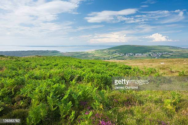 View from Rhossili Down towards Llangennith Village and Llanmadoc Hill. Gower. Wales. UK.