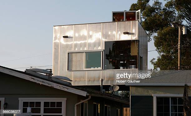 View from Rialto Ave. Of the Cabrillo Ave. Venice residence of architect couple, Robert Choeff and Krystyan Keck. They needed to expand their 1913...