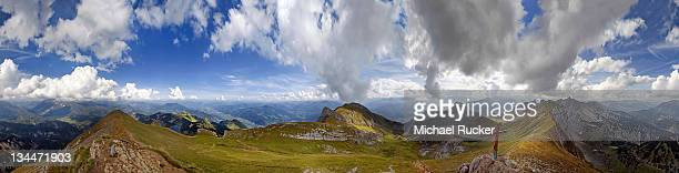 360° view from Rofanspitze Mountain with bizarre clouds in the sky over the Rofan Mountains, Achensee, Tyrol, Austria, Europe