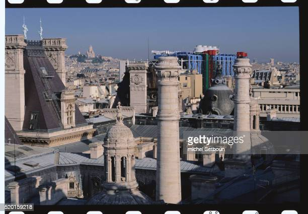 view from roof of hotel de ville - centre pompidou stock pictures, royalty-free photos & images