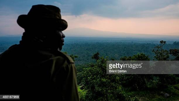 View from Rumangabo over the Volcano section of Virunga National Park on August 2 2013 in Democratic Republic of the Congo UK company Soco...