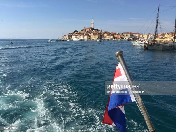 View from sailing boat on the old town of Rovinj, Croatia Europe