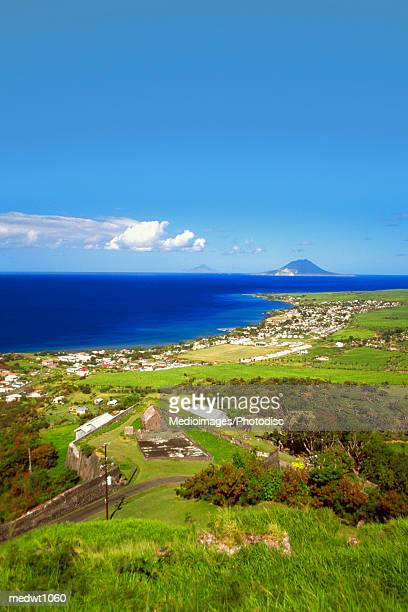 view from saint paul's and sandy point beaches, st. kitts, caribbean - st. kitts stock photos and pictures