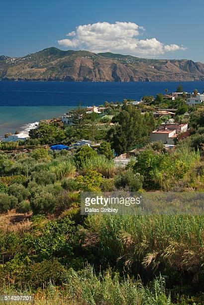 view from salina to lipari, sicily, italy - isole eolie foto e immagini stock