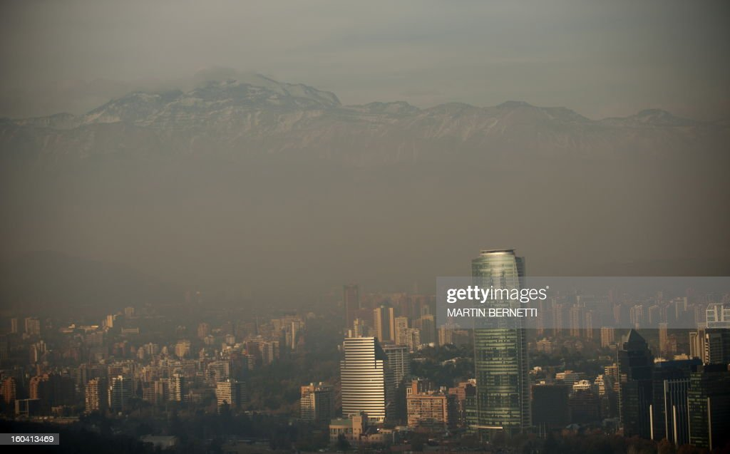 View from San Cristobal hill in Santiago, partially covered by smog on June 09, 2011. The Chilean capital is one of the three most polluted cities of Latin America.