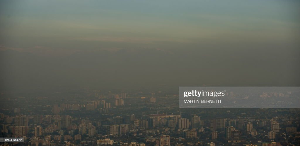 View from San Cristobal hill in Santiago, partially covered by smog on June 09, 2011