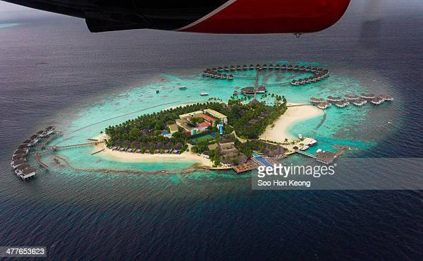View from sea plane as it approaches the Centara Grand Island Resort & Spa at Maldives
