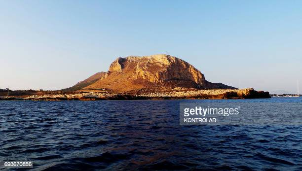 View from sea the Preveto Zone on Favignana island in Egadi Islands Sicily region southern Italy