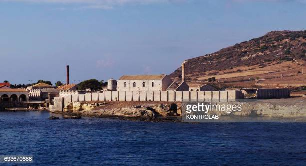 View from sea the Tonnara Florio on Favignana island in Egadi Islands Sicily region southern Italy