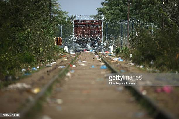 A view from Serbia of the Hungarian train blocking the line where thousands of migrants crossed into Hungary on September 17 2015 in Horgos Serbia...